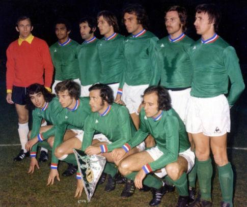 Ekipa Sent Etjena uoči utakmice sa kijevskim Dinamom, 17. marta 1976. godine